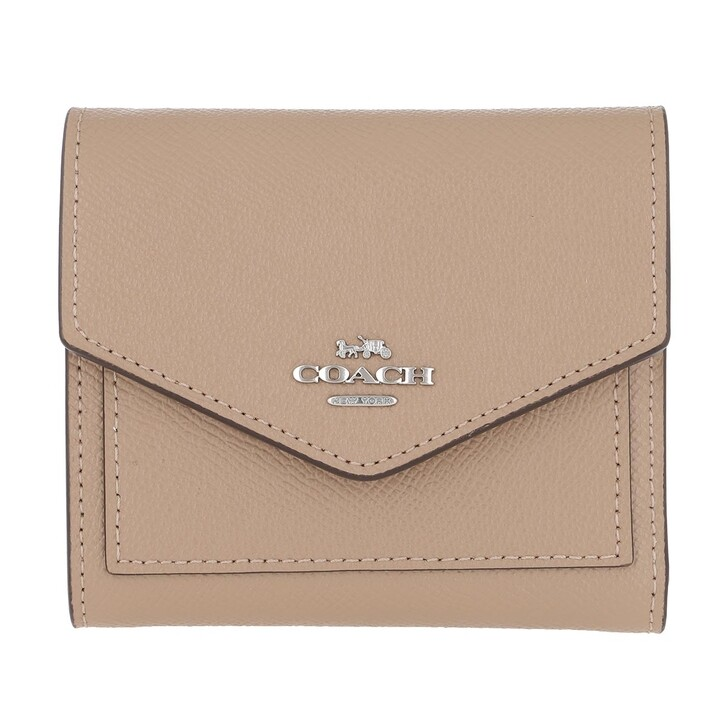 Geldbörse, Coach, Crossgrain Leather Small Wallet Lh/Taupe