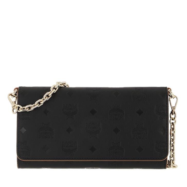 wallets, MCM, Klara Monogram Leather Phone Wallet Crossbody  Black