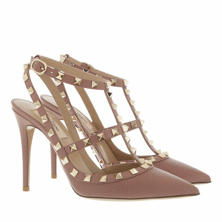 shoes, Valentino Garavani, Rockstud Ankle Strap Pumps Dark Nude