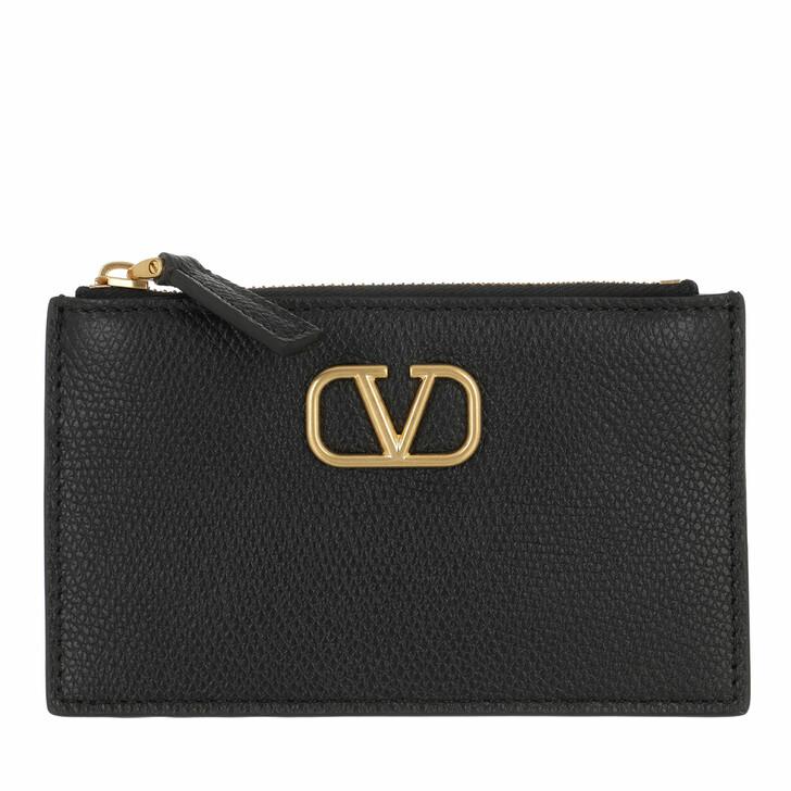Geldbörse, Valentino Garavani, V Logo Signature Card Holder Leather Black