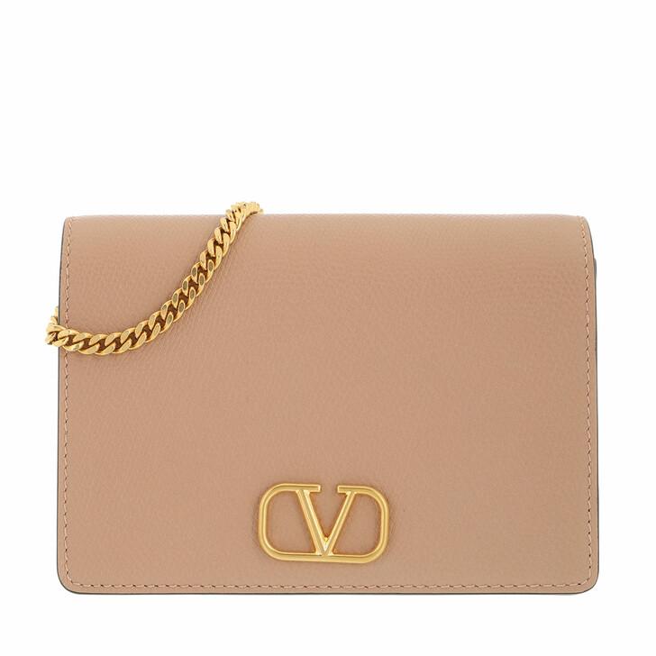 bags, Valentino Garavani, V-Logo Signature Crossbody Bag Leather Rose Cannelle
