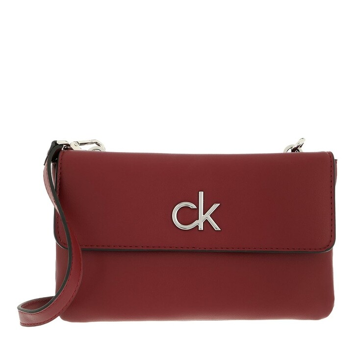 bags, Calvin Klein, Re-Lock Ew Double Comp Xbody With Flap Red Currant