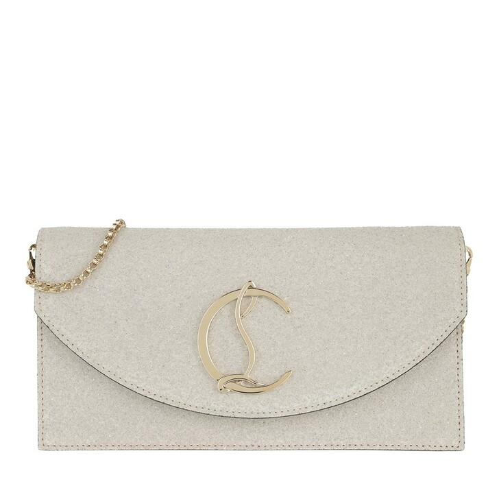 bags, Christian Louboutin, Loubi 54 Clutch Leather White/Gold