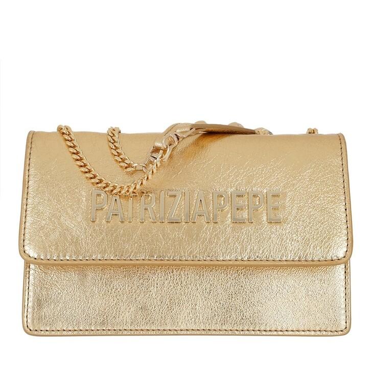 Handtasche, Patrizia Pepe, Mini Shoulder Bag Piping Metallic Logo Gold Star