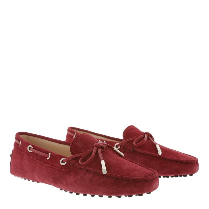 Schuh, Tod's, Gommino Loafer Suede Scarlet