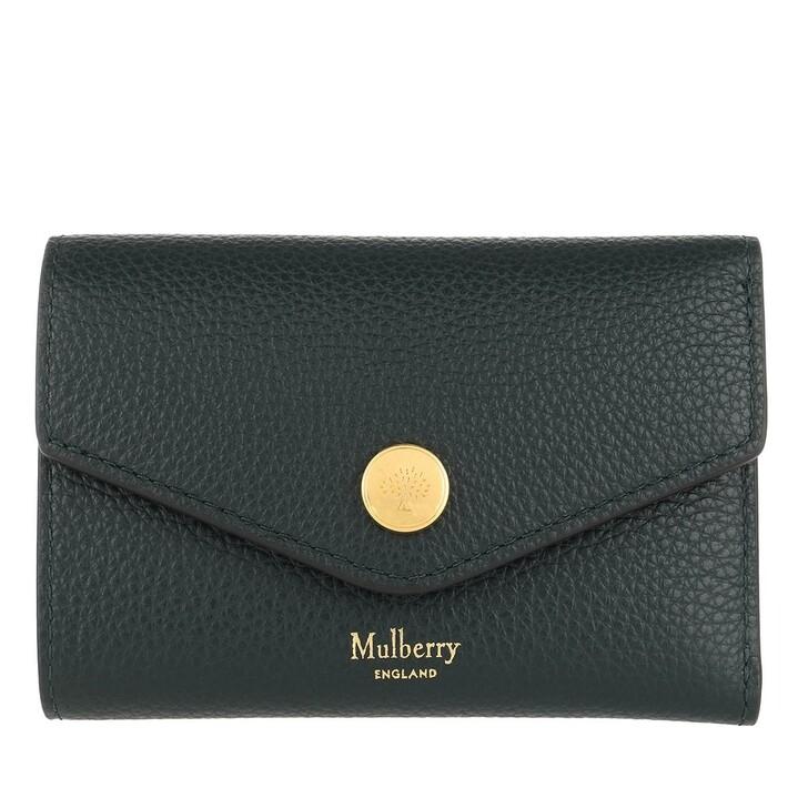 Geldbörse, Mulberry, Press Stud Folded Multi-Card Wallet Small Leather Green
