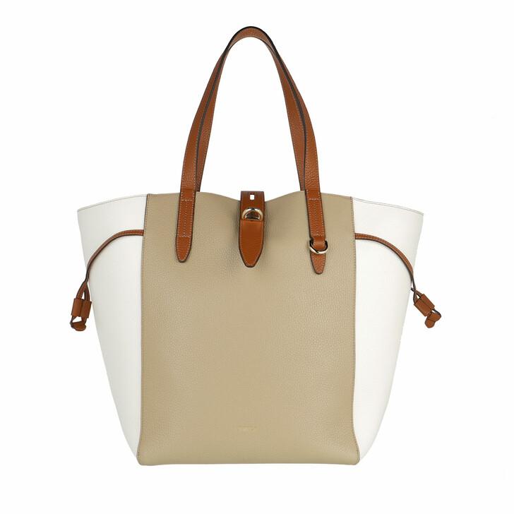 Handtasche, Furla, Furla Net L Tote - Vitello St.Eracle Colorblock Juta+Talco H+Cognac H