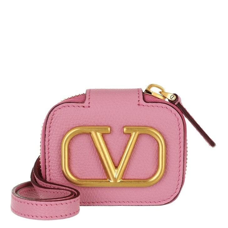 smart_cases, Valentino Garavani, V Logo Signature Airpod Case Calf Leather Dawn Pink