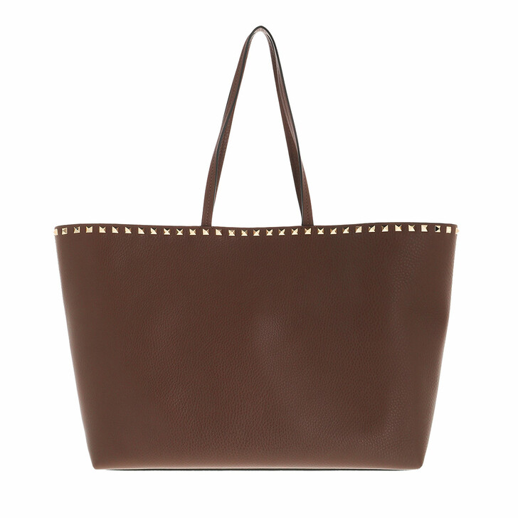 bags, Valentino Garavani, Rockstud Shoulder Bag Leather Deep Taupe