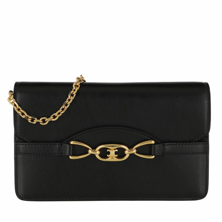 Handtasche, Celine, Triomphe Wallet On Chain Leather Black