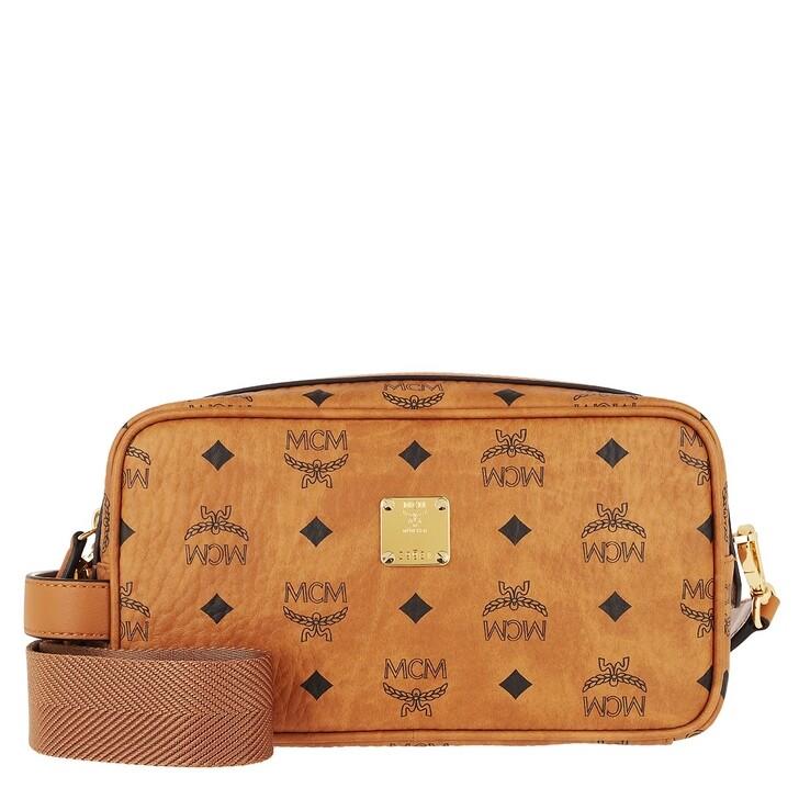 Handtasche, MCM, Visetos Org U-P24-1 Wash Bag W/Strap (Pu  Cognac