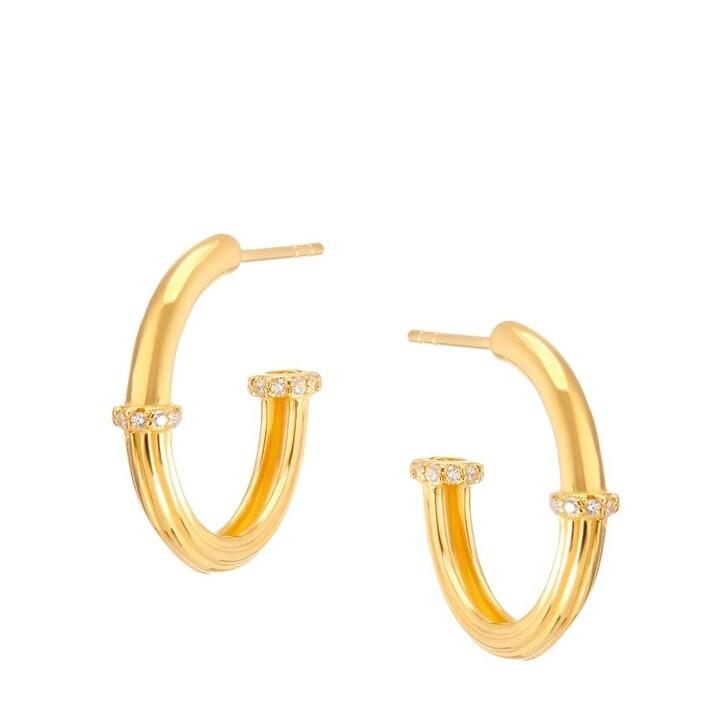 Ohrring, V by Laura Vann, Sade Medium Hoop Earrings Yellow Gold