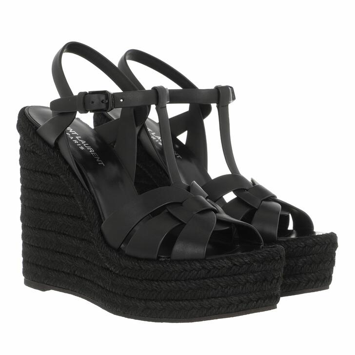 Schuh, Saint Laurent, Tribute Wedge Espadrilles Black