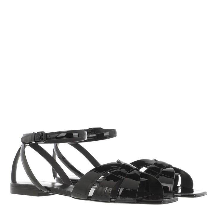 shoes, Saint Laurent, Low Tribute Sandals Leather Black