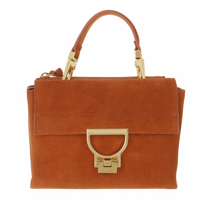 bags, Coccinelle, Handbag Suede Leather Chestnut