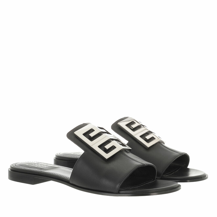 shoes, Givenchy, 4G Flat Slipper Nappa Leather Black