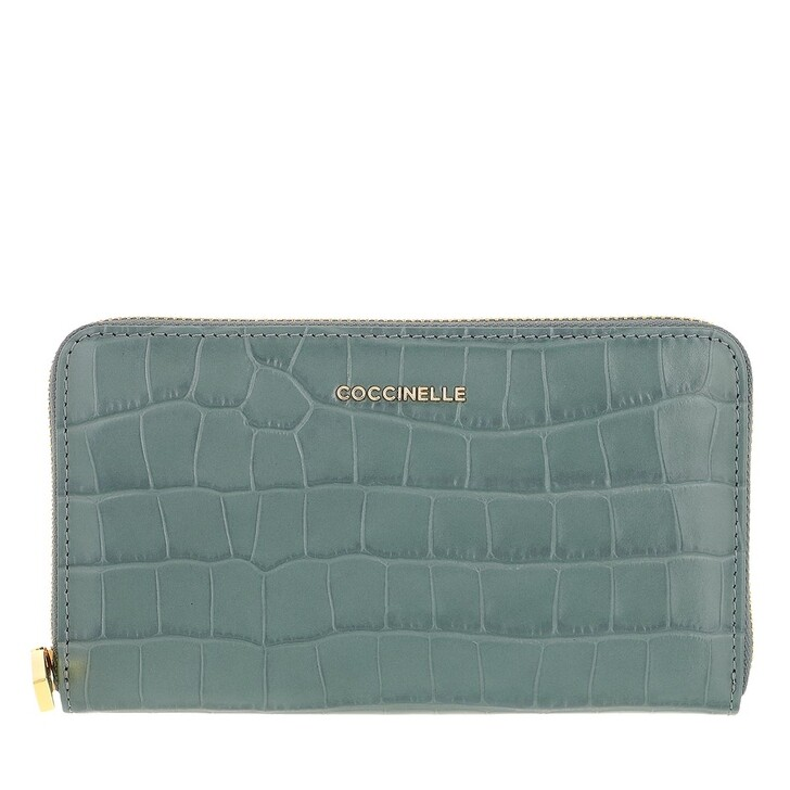 wallets, Coccinelle, Metallic Croco Shiny Soft Wallet  Shark Grey