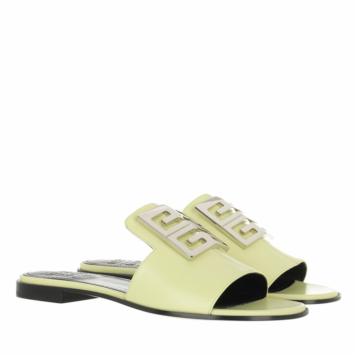 shoes, Givenchy, 4G Flat Slipper Nappa Leather Yellow