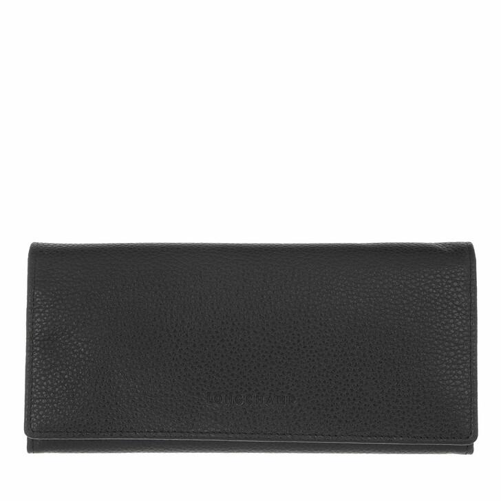 wallets, Longchamp, Le Foulonné Wallet with Flap Black