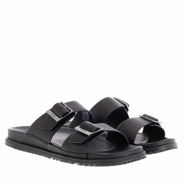Schuh, UGG, Men Wainscott Buckle Slide Sandal Leather Black