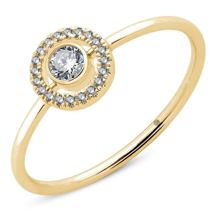rings, Pukka Berlin, Round Halo Diamond Ring Yellow Gold