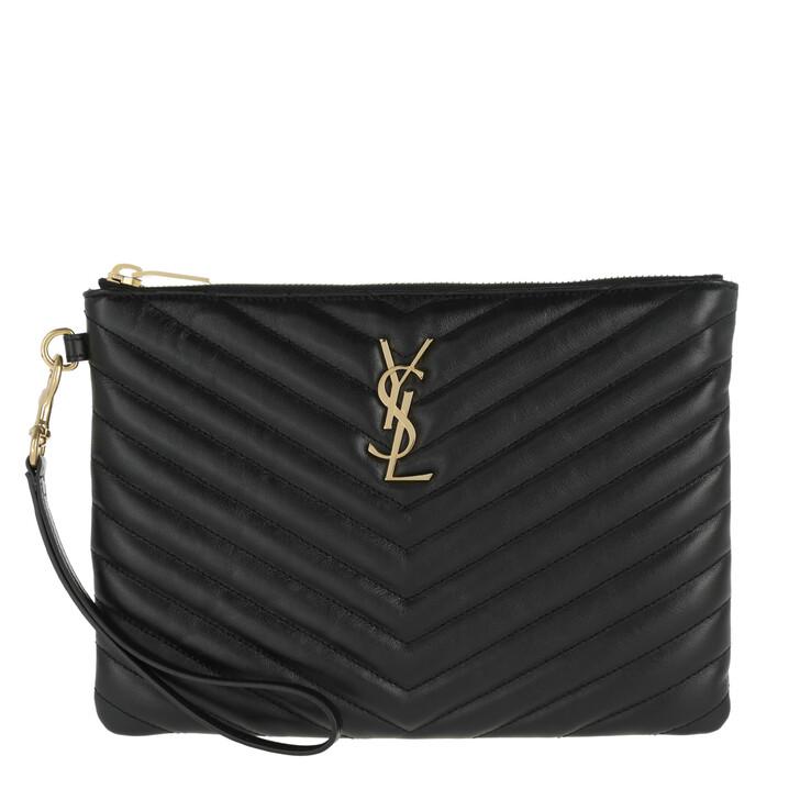 Handtasche, Saint Laurent, YSL Case Monogramme Clutch Jolie Nero