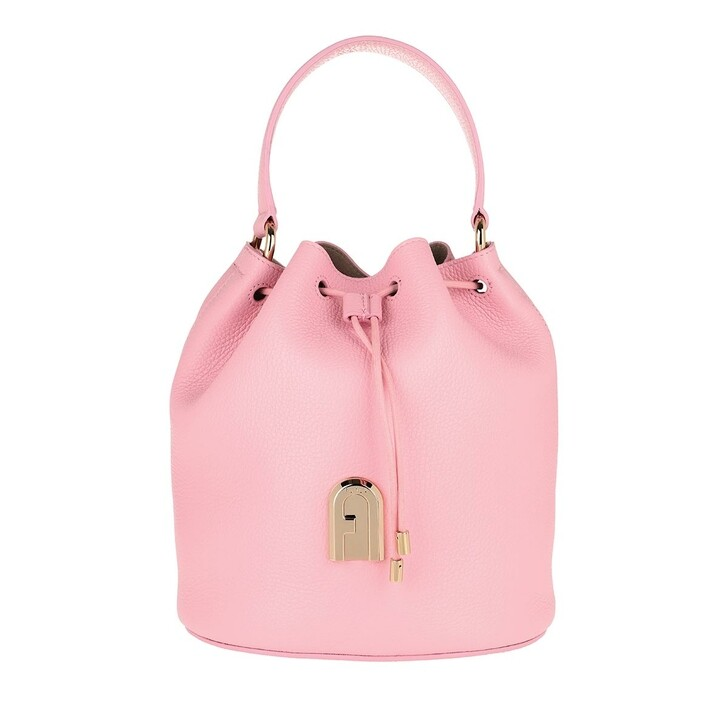 Handtasche, Furla, Sleek Small Drawstring Rosa Chiaro Toni Nero
