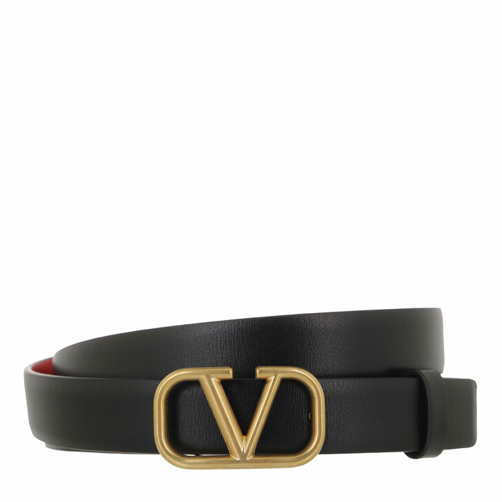 belts, Valentino Garavani, V Logo Belt Calfskin Black/Red