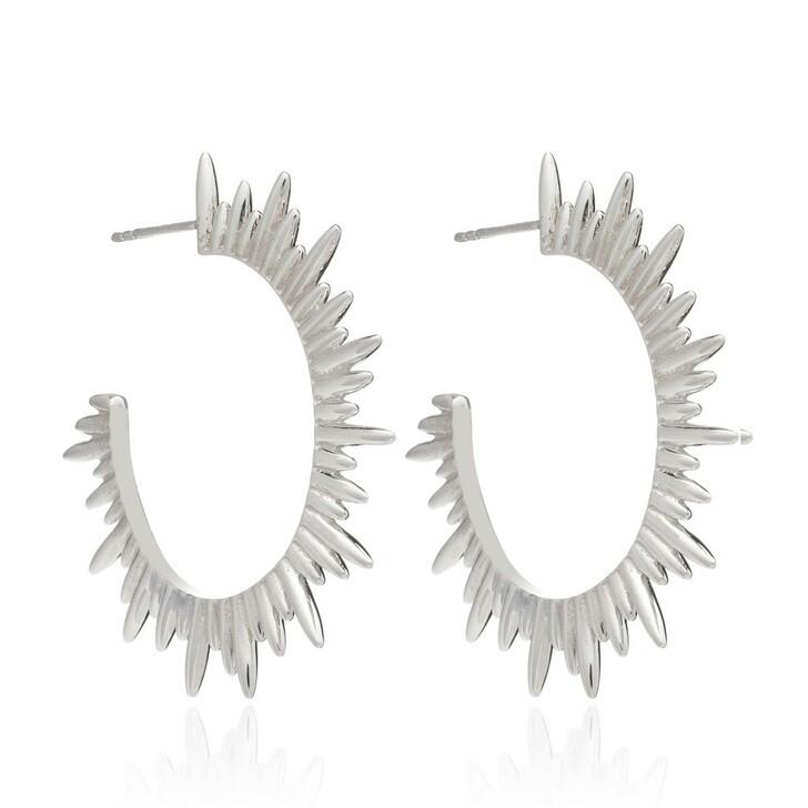 earrings, Rachel Jackson London, Statement Sunrays Hoops Silver