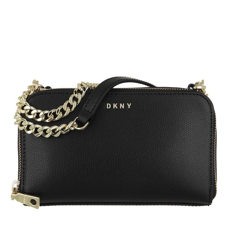 Handtasche, DKNY, Felicia Double Zip Crossbody Black Gold