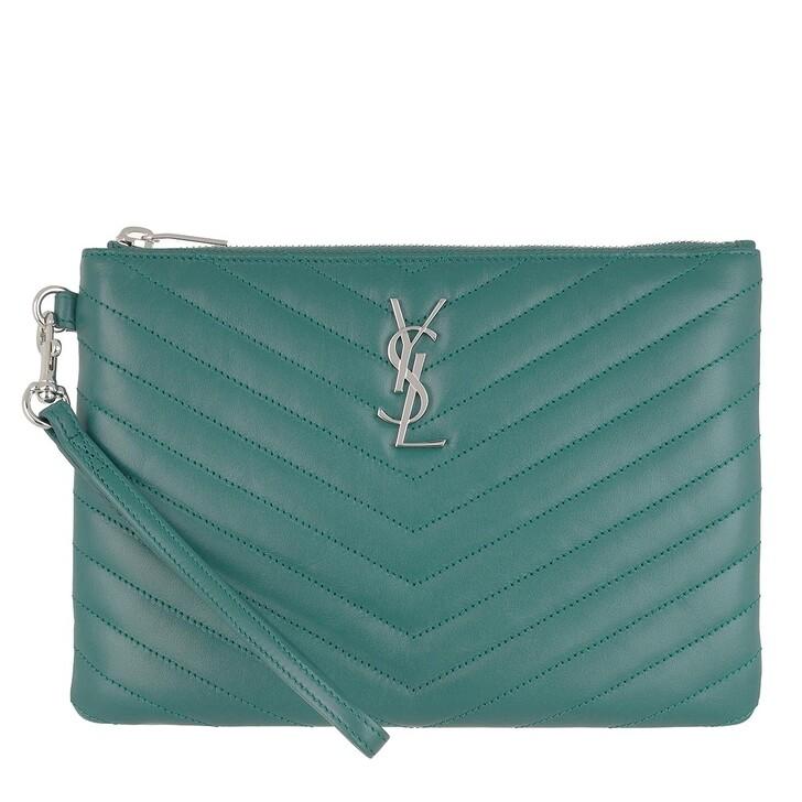 Handtasche, Saint Laurent, Monogram Pouchette Quilted Leather Teal