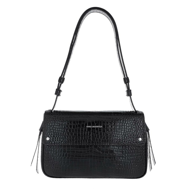 Handtasche, Karl Lagerfeld, Ikonic Croco Shoulder Bag Black