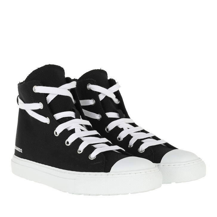 shoes, Dsquared2, Logo Print Lace Up Sneaker Black/White