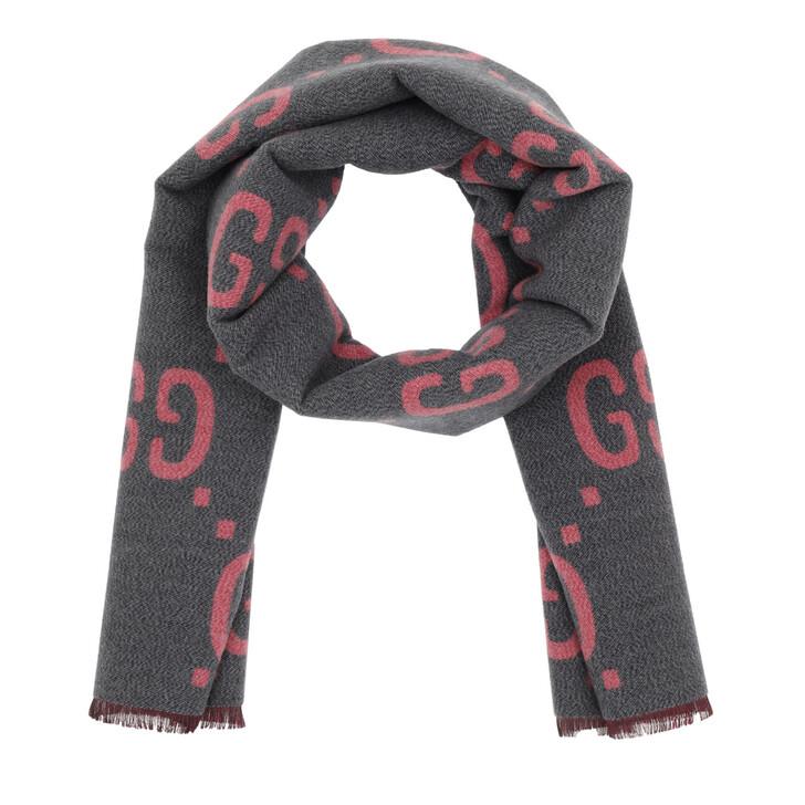 Schal, Gucci, GG Jacquard Wool Silk Scarf Graphite/Pink
