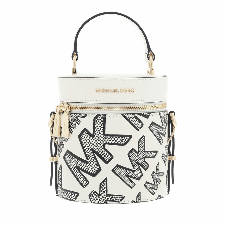 bags, MICHAEL Michael Kors, Md Ns Barrel Xbody Black/Optic White