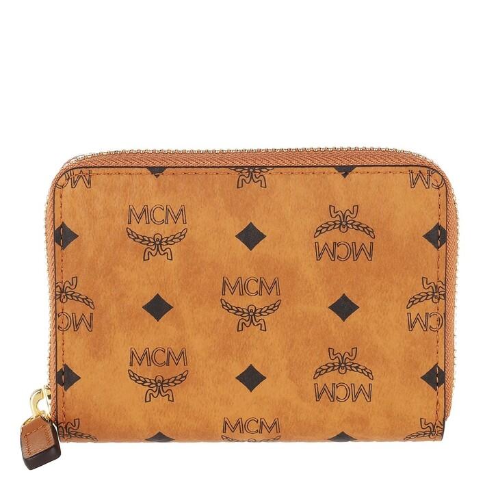 Geldbörse, MCM, Mini Zip Wallet Leather Cognac