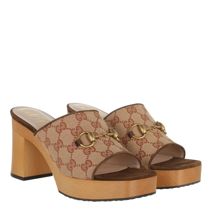 Schuh, Gucci, Retro Logo Mule Canvas Beige Brown