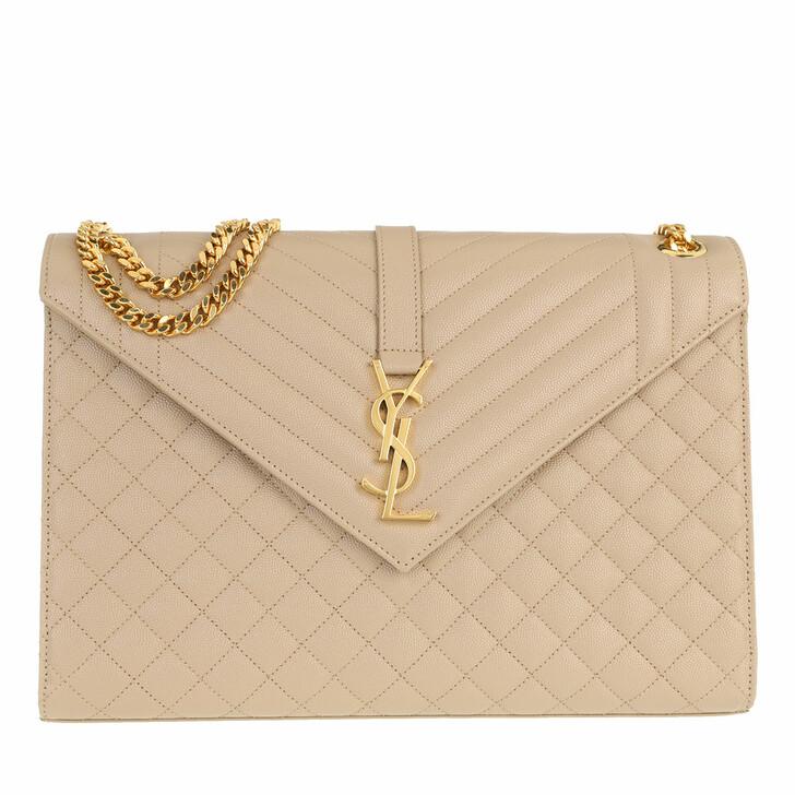 bags, Saint Laurent, YSL Monogram Envelope Chain Shoulder Bag Dark Beige