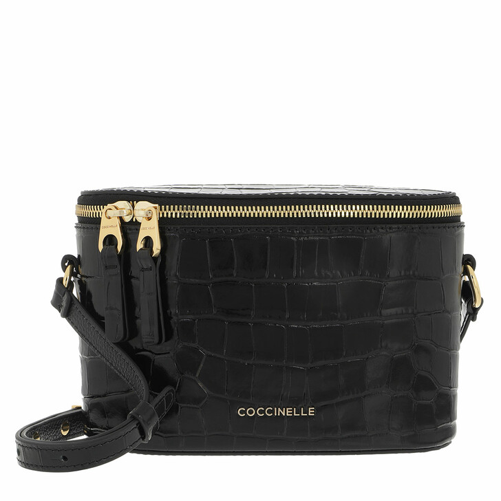 bags, Coccinelle, Juliette Croco Shiny Soft Handbag  Noir