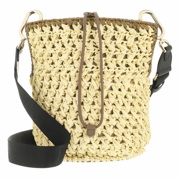bags, Furla, Furla Lipari M Bucket Bag - Tessuto Rafia Uncinett Juta+Fango