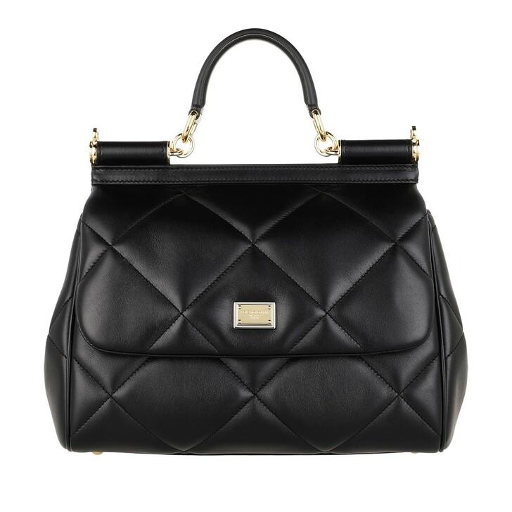 bags, Dolce&Gabbana, Sicily Medium Handle Bag Black