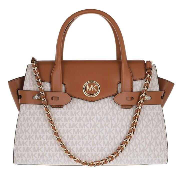 bags, MICHAEL Michael Kors, Carmen Large Flap Satchel Vanilla/Acorn