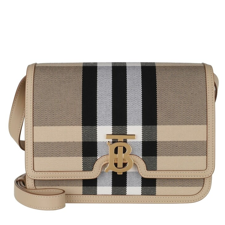 Handtasche, Burberry, TB Check Crossbody Bag Canvas Leather Dusty Sand