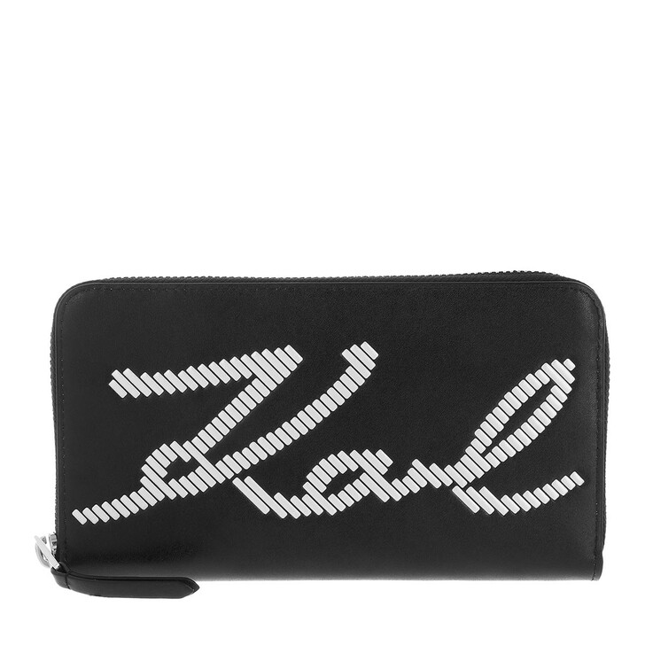 wallets, Karl Lagerfeld, Signature Special Whip Wallet  Black