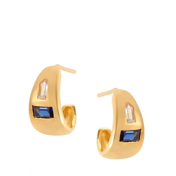 Ohrring, V by Laura Vann, Erika Small Chubby Hoop Earrings Yellow Gold/Blue Corrundum