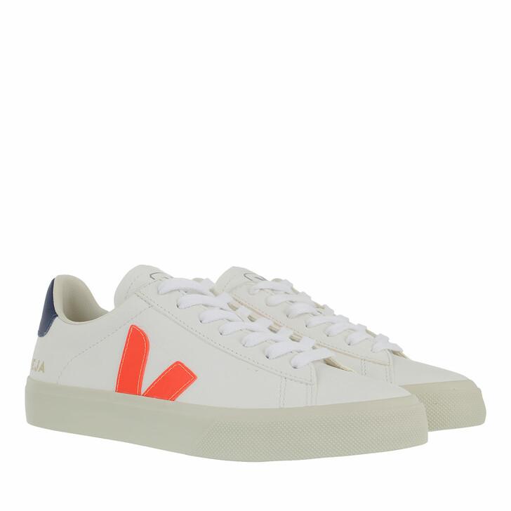 Schuh, Veja, Campo Chromefree Leather Extra White Orange Fluo Cobalt