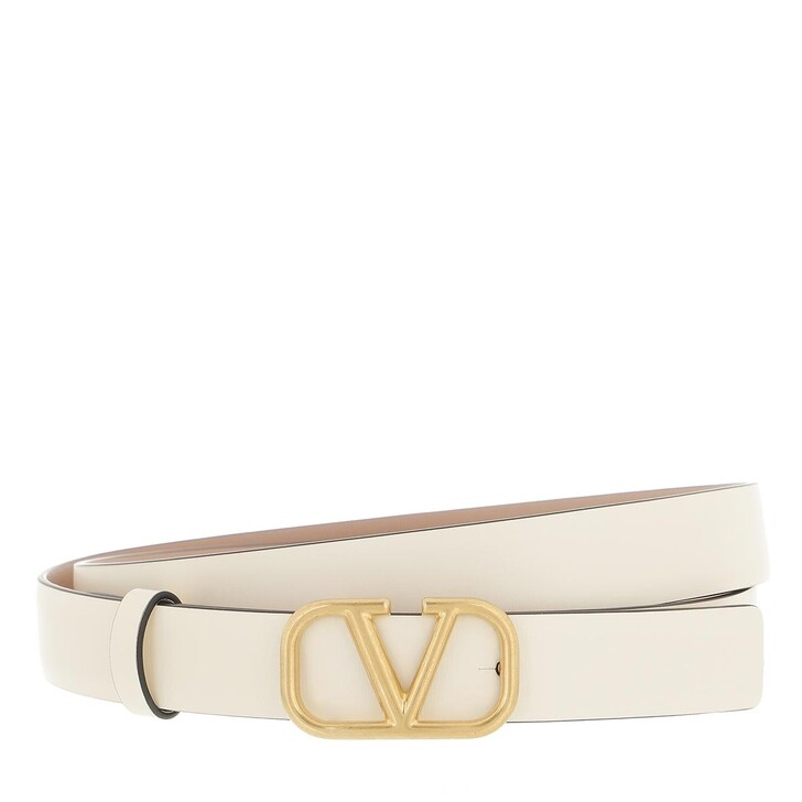 belts, Valentino Garavani, V Logo Belt Calfskin Light Ivory Rose Cannelle