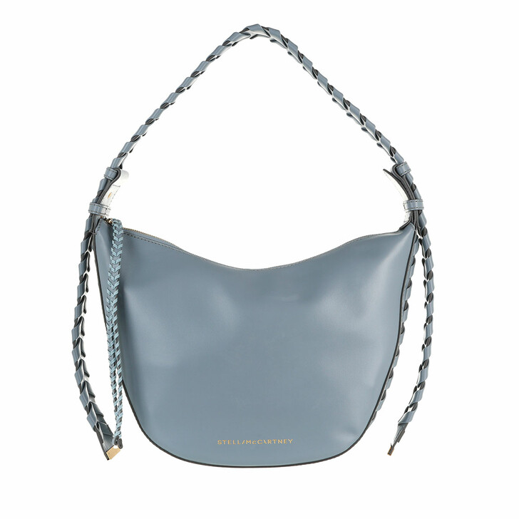 bags, Stella McCartney, Medium Zip Hobo Bag Leather Cameo Blue