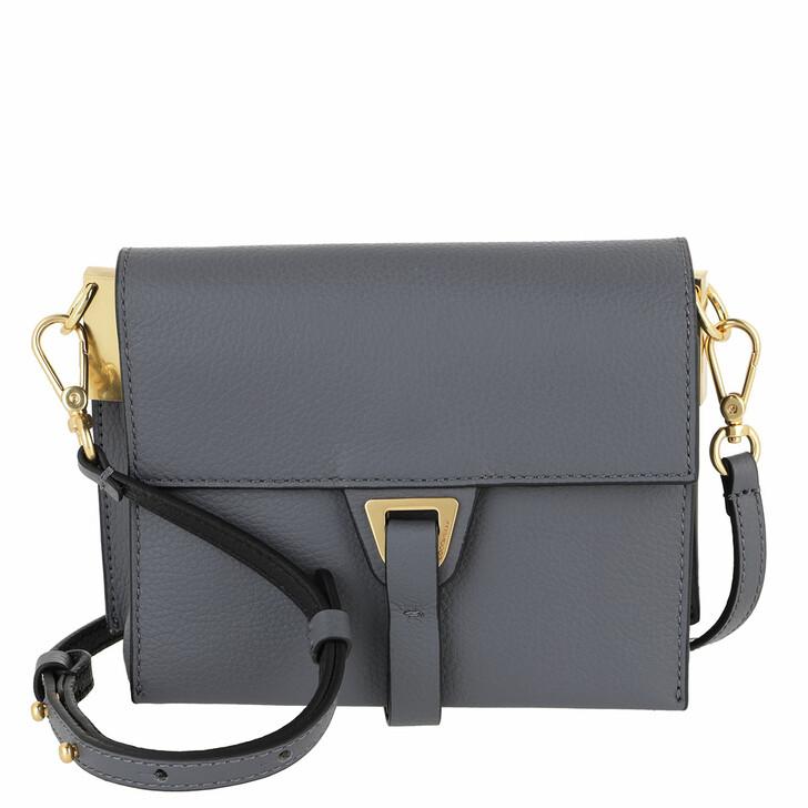 bags, Coccinelle, Handbag Double Grainy Leather Ash Grey/Noir