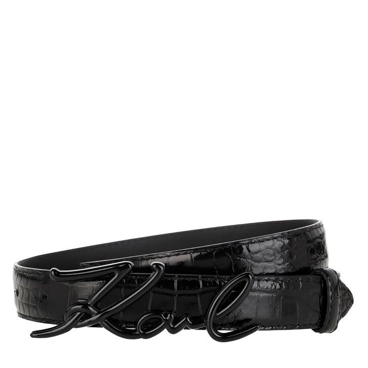 Gürtel, Karl Lagerfeld, Signature Croco Belt Black
